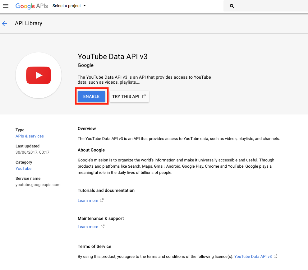How to create a Google API Key for Youtube - Siberian CMS