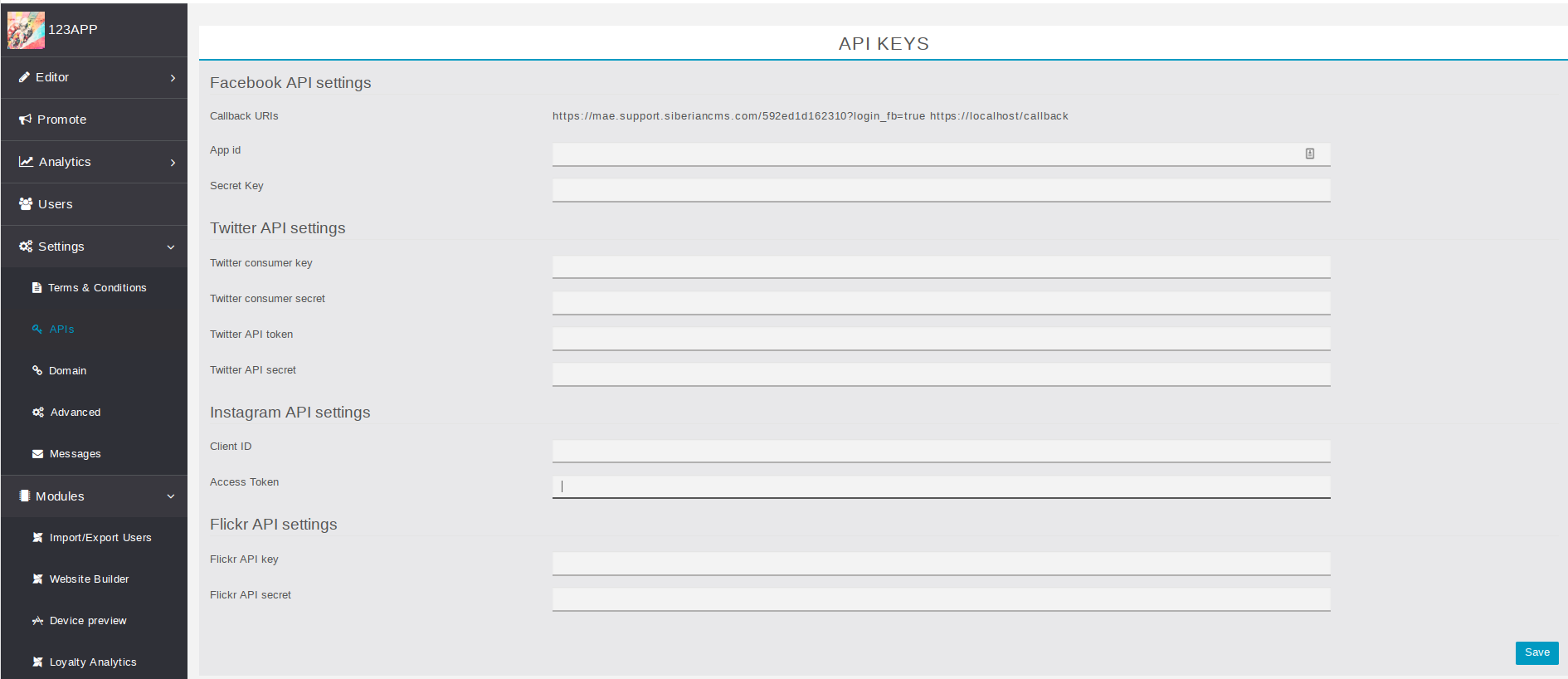 How to create API keys for Facebook, Instagram, Flickr and
